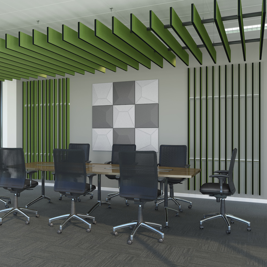 Image of green colour scheme Capella decorative acoustic products in use in a boardroom. Sold by Acoustek.